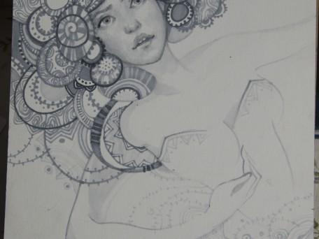 portret cu markere